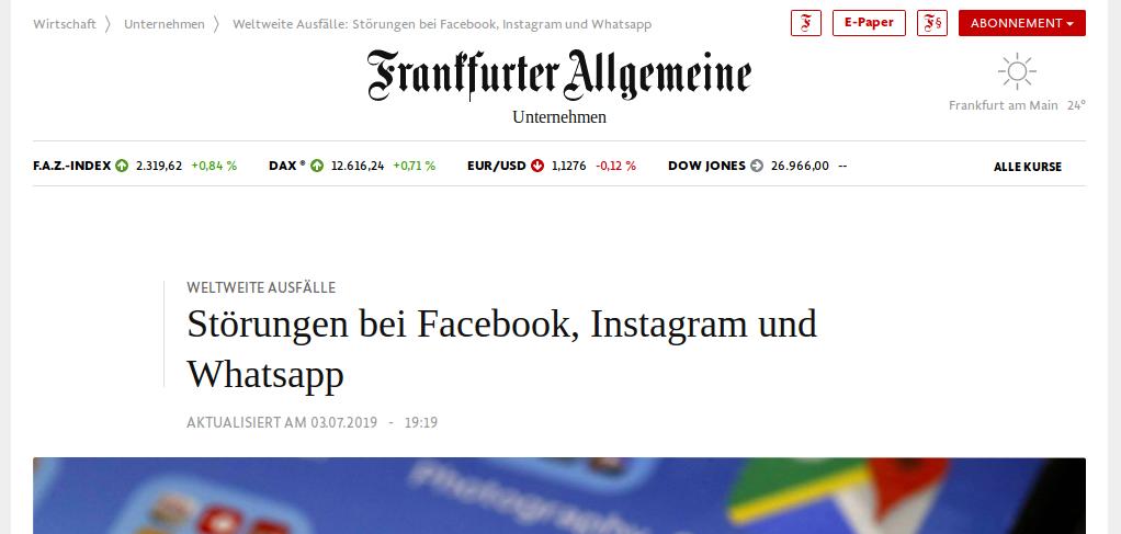 faz.net: Weltweite Ausfälle : Störungen bei Facebook, Instagram und Whatsapp